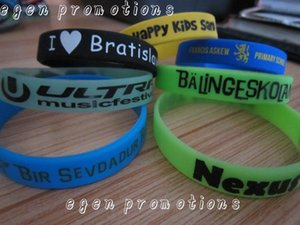 100pcs Lot Custom Silicone Bracelets For Party Egen Promotions Personalized Writing On Wristbands C19042001