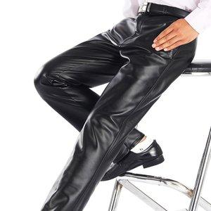 Thoshine Marke Sommer Männer Lederhosen Elastische Hohe Taille Leichte Beiläufige PU Lederhose Dünne Motorhosen Plus Größe