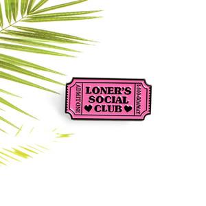 Pink Movie Ticket Эмаль Pin Признайтесь Один одиночкой клуб Броши Одежда Рюкзак штыри отворотом Пряжка Выборочная Badge подарок для друзей