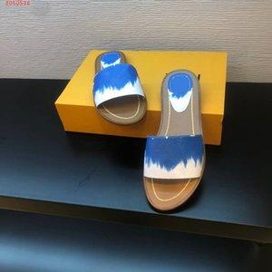 Mulheres designer Sandal Lock it Flat Mule, Verão de 2020 Itália luxuoso efeito tie-dye tela colorida Patent slides chat chaded heel beach Slippe