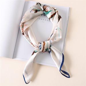 Шелковый шарф женщин 70 * 70см Новые шарфы печати моды небольшие квадраты головной платок женщин шаль сумка Весна декоративные шарфы