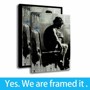 Moments Drawing Girl and Blue Bird Wall Decorative HD Prints Art Canvas Framed Art - Ready To Hang - Support Customization
