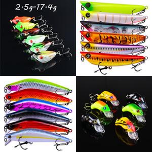 6 Cor Mixed plástico rígido Iscas Lures 2.5G-17,4g (3 cm de 10,2 centímetros) 12/10/8/6/4 # gancho de pesca Ganchos Pesca Pesqueiro BLU_238