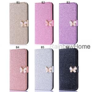Bow-Knot Diamond Glitter Bling Wallet Funda de cuero para iphone Xs Max XR 8 7 Samsung S9 S10 Plus A6 A8 2018 P30