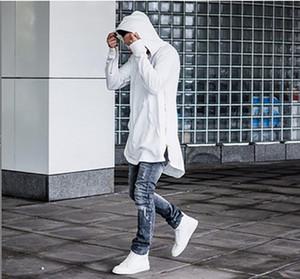 2019 Manera del otoño sudaderas con capucha de la manga completa canguro bolsillo lateral Cremalleras Streetwear Hip Hop Pullover Hombres Sudaderas Hombre