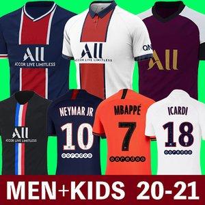 20 21 maillots باريس سان جيرمان دي القدم MBAPPE لكرة القدم جيرسي ICARDI أعلى تايلند 2020 2021 باريس قميص كرة القدم كافاني Camiseta دي فوتبول الرجال الاطفال