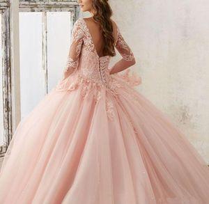 2020 새로운 복숭아 핑크 성인식 드레스 플러스 사이즈 볼 가운 긴 소매 레이스 신데렐라 파티 미스 선발 대회 저렴한 달콤한 16 댄스 파티 드레스