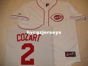 Ucuz beyzbol 2. ZACK Cozart gömlek Dikişli JERSEY BEYAZ Yeni Erkek Satılık formaları büyük ve uzun SIZE XS-6XL dikişli