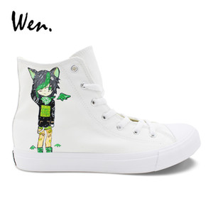 Wen Boy Girl Shoes Hand Painted Cartoon Dex Midnight And Dirk Strider Cat High Help White Sneakers Canvas Graffiti Plimsolls
