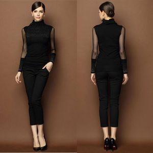 Женская с длинным рукавом вязаный кардиган Тонкий черный шнурок Sequined свитер Outwear Повседневный свитер