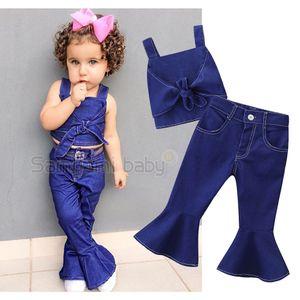 Perakende kızlar butik kıyafetler 2 adet denim takım elbise kolsuz yay sling yelek + parlama pantolon moda eşofman bebek eşofman çocuklar giysi tasarımcısı