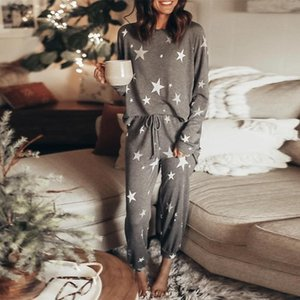 Ms. 2020 new printing and dyeing stars tracksuit casual two-piece female summer long-sleeved pants suit home