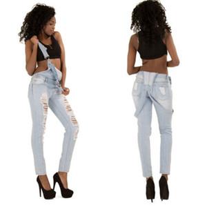 Straps Jeans Frauen One-Piece-Overall beiläufige Overall zerrissene Jeans lange Hose Straps Pants Europa und Amerika