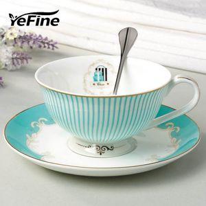 ingrosso ceramica tazza di tè e piattino Set Designer Bone China tazza di tè della tazza di caffè in porcellana Pomeriggio nero Set Coffeeware Set