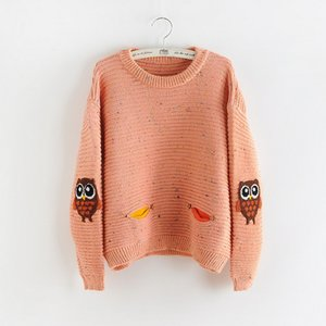 Sweet Japanese Literature and Art Lovely Owl maglione maculato stampato in maglia in autunno e in inverno