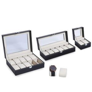Saat Saatler Mücevher Kutuları Vaka Görüntü kap için 2/6/10 Izgaralar PU Deri İzle Kutusu Kasa Profesyonel Tutucu Organizatör