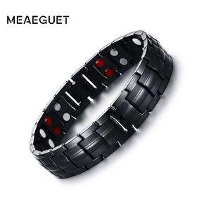 Meaeguet 15mm Magnet Health-Energien-Armband für Männer Schwarz Negative Ionen fernen Infrarot Titan magnetischer Therapie Armbänder Schmuck
