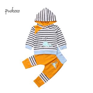 Calças Pudcoco novíssimo bebé recém-nascido da menina roupa com capuz listrada Dolphin Sweater Top + longas Outfit Set