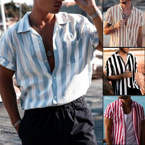 Mens Short Sleeve Button Down T-Shirt Tops Slim Fit legere Kleidung stilvolle Hemden