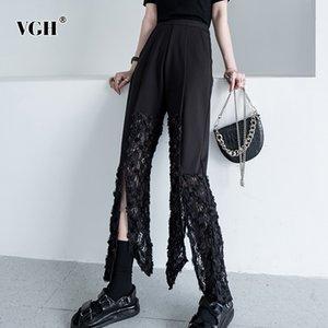 VGH Casual Patchwork Dentelle Femmes Pantalon taille haute évider fendus irrégulière Striaght Pant Femme Mode 2020 Vêtements Tide