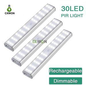 LED Light Gabinete 30LEDs USB recarregável do corpo humano indução lâmpada Brilho Regulável Night Light Início Quarto Cozinha Cabinet Lighting