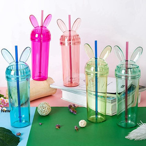 Rabbit Ear Tumblers Colorful Transparent Mouse Ear Water Bottle With Straw and Lid Cup Milke Coffee Mug Girls Gift HHA1372