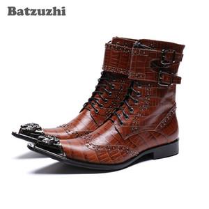 NUEVO 2019 Western Cowboy Men Boots Ankle Black / Brown Botas de cuero genuino de los hombres en punta de hierro del dedo del pie militar motocicleta Botas Hombre