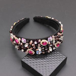 Accesorios para el cabello hechos a mano de la boda Encanto de lujo Lentejuelas barrocas Bead Crown Tiara Hair Bands Crystal Headband 269 Y19061503