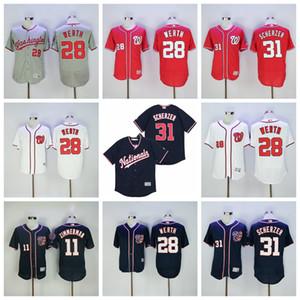 Estilo 2018 28 31 Jayson Werth Jersey Béisbol Max Scherzer 11 Ryan Zimmerman Rojo Blanco Gris Azul marino Todo cosido equipo de descuento baratos