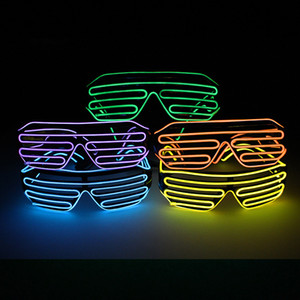 Party EL Wire LED Occhiali Fashion Flash Occhiali da sole luminosi Illumina gli occhiali Rave Costume Eyewear Decorazioni per feste di compleanno TTA1649