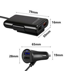 전화를위한 4 포트 USB 여객 자동차 충전기 확장 USB HUB 전면 및 뒷좌석