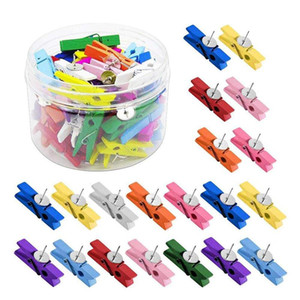 50Pcs  Set Push Pins With Wooden Clips Thumbtacks Pushpins Creative Paper Clips Clothespins Multicolor for Cork Board and Photo Wall