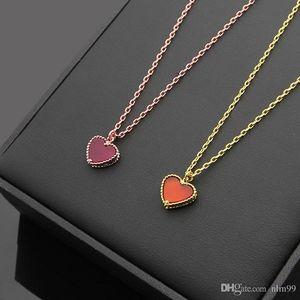 Nlm99 2019 보석 도매 단일 심장 붉은 마노 목걸이 18K 골드 lucury 브랜드 디자이너 보석 여성 목걸이 무료 배송