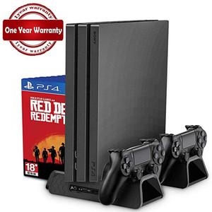 PS4 / PS4 Delgado / PS4 PRO soporte vertical con refrigeración cargador del regulador del ventilador enfriador de doble estación de carga para Sony Playstation 4 entrega gratuita