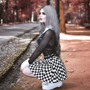 Sweetown Gothic Streetwear Two Piece Set Women Sexy Transparent Mesh Bodysuit And Checkerboard Print Mini Skirt 2 Pieces Set