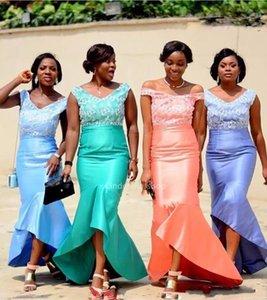 Chic Tasarım Mermaid Gelinlik Modelleri Yüksek Düşük Dantel Afrika Düğün Konuklar Elbise Ruffles 2019 Onur Hizmetçi Elbiseler robe Ceremonie