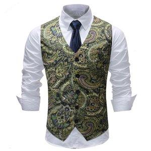 Paisley Vest Men Fashion Flower Print Dress For Men Waistcoat Mens Wedding Vests fz3821