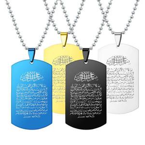 Arábia Escritura colares Para As Mulheres Homens de aço inoxidável Dog Tag Pingente de grânulos de corrente de Presente Da Jóia Da Forma