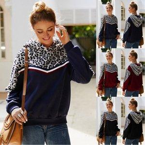 Leopardo remiendo con capucha los 3 mujeres de los colores de la manga larga capucha de puente al aire libre Outwear Hoodies Jerseys OOA7407-4