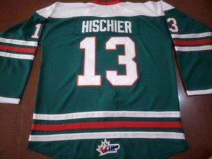 Personnalisé Men # 13 NICO Hischier HALIFAX MOOSEHEADS BLANC ROUGE VERT Hockey Jersey 100% broderie Jersey ou sur mesure un nom ou un numéro Jersey