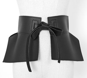 Women sexy corset black peplum belt PU leather influencer chic ruffles belts bow tie brown belts waistband red green belts