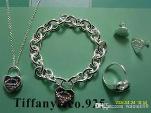 Рождественский подарок tiff925 Серебро Любовь ожерелье + серьги браслета венчания себе ювелирные изделия сердца кулон ожерелья браслет наборы 2 в 1