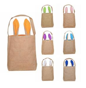 Easter Bunny Basket Easter Bunny Einkaufstasche Jute Sackleinen Ohren Ostern Bucket Bag Festliche Party Supplies für Kind Geschenk