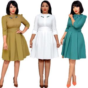 Robe plissée solide brodée Spring automne fête une ligne Midi robe de mode africaine Femmes élégantes Vestido de Mulher