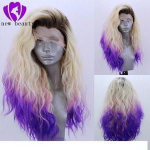 C Livre Parte Alta Temperatura Fiber ombre loira roxo peruca Peruca Cabelo 360 frontal Longo água onda completa perucas de cabelo sintético Lace Fron
