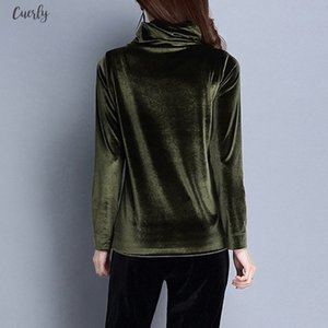 Chamsgend Womens Autumn Winter Velvet Blouse Fashion Solid Color Turtleneck Top Casual Basic Warm Pullover Blusa De Terciopelo