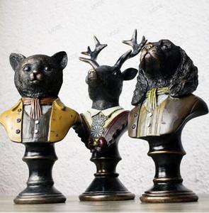 빈티지 오래 된 신사 개, 고양이, 하이 엔드 사슴 입상 시뮬레이션 수 지 동상 장식 공예, 동물 그림 onsale ~