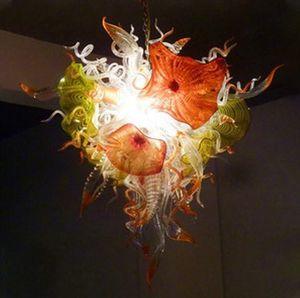 Элегантный современный LED Люстра 36 дюймов Стеклянные подвесные светильники для гостиной Столовая Рука выдувное стекло цветок Люстра лампа