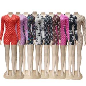 9 colores diseñador de las mujeres ropa de dormir pijama Bodies Playsuit botón del entrenamiento flaco Impresión caliente del mono de V-cuello corto Onesies mamelucos