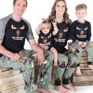 PUDCOCO mais novo Matching Família Hot Natal Pijama PJs Define T-shirt Casual Xmas Pijamas Pijamas Top + Pant Long Bodysuits